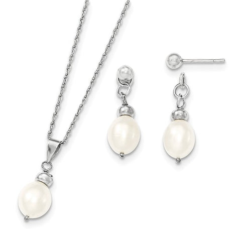 Sterling Silver Freshwater Cultured Pearl Necklace Earrings Set - Cailin's