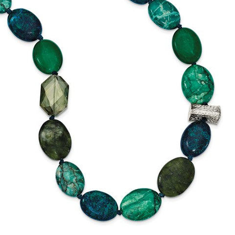Sterling Silver Green Crystal Jade Jasper Serpentine Necklace - Cailin's