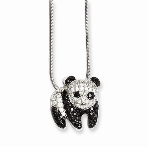 925 Sterling Silver Pavé Panda CZ Necklace - Cailin's