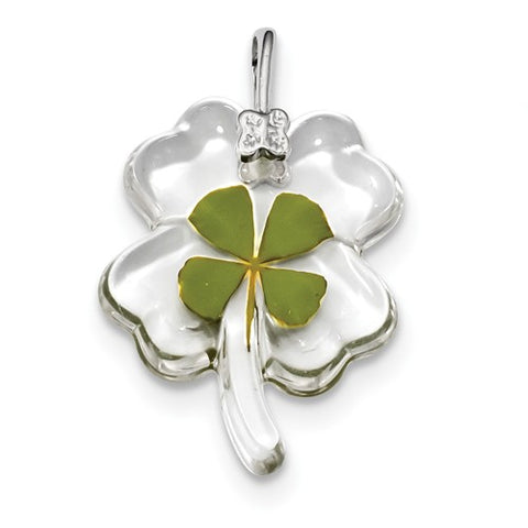 925 Sterling Silver Real Lucky Four Leaf Clover Necklace Charms - Cailin's