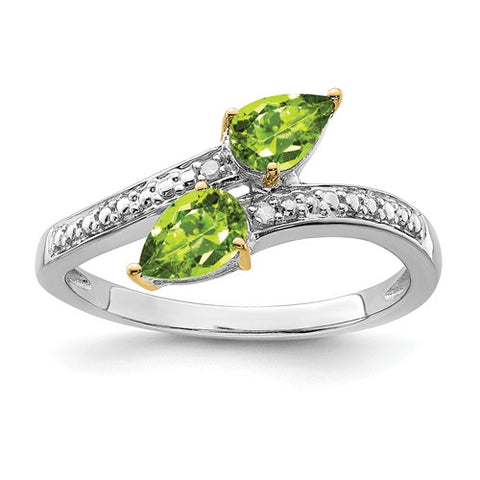 925 Sterling Silver 14K Yellow Gold Green Peridot diamond Ring