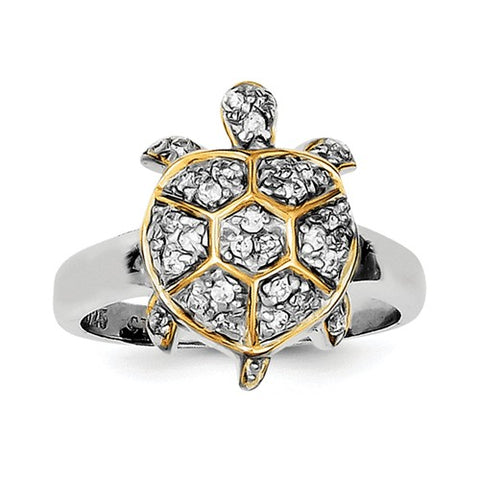 925 Sterling Silver CZ GP Turtle Ring - Cailin's