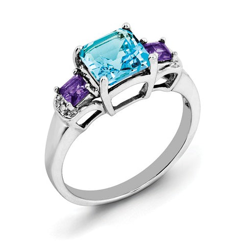 925 Sterling Silver Amethyst London Blue Topaz diamond Ring - Cailin's