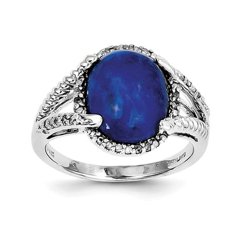 925 Sterling Silver Cabochon Lapis diamond Ring - Cailin's