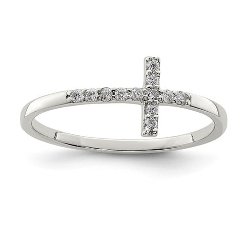 925 Sterling Silver Crossways Cross CZ Ring - Cailin's