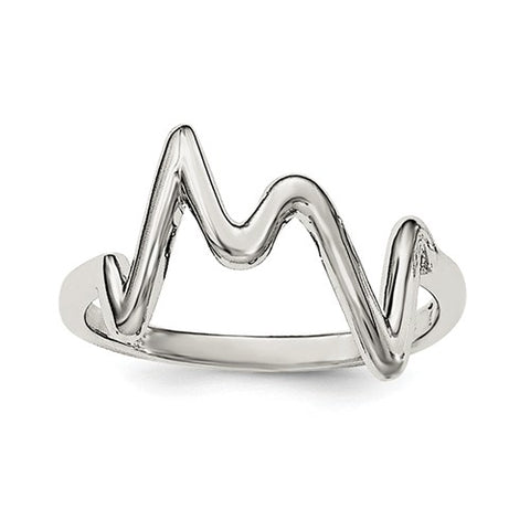 925 Sterling Silver ZigZag Heartbeat Ring - Cailin's