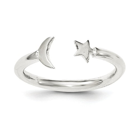 925 Sterling Silver Crescent Moon Star Ring - Cailin's