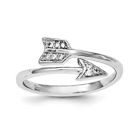 925 Sterling Silver Adjustable Arrow CZ Ring - Cailin's