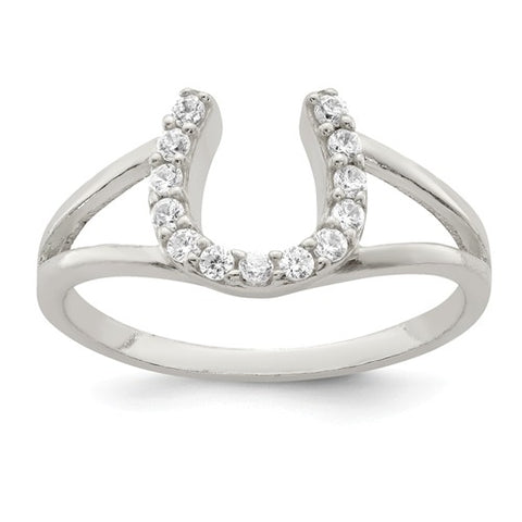 925 Sterling Silver Horseshoe CZ Ring - Cailin's