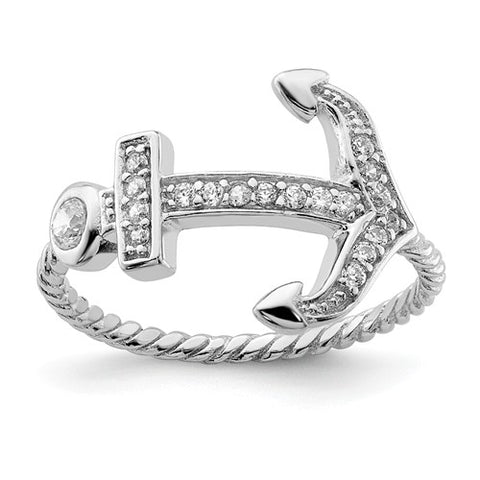 925 Sterling Silver Hope Anchor CZ Ring - Cailin's
