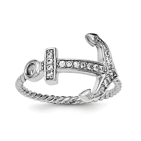 925 Sterling Silver CZ Rope Anchor Ring - Cailin's