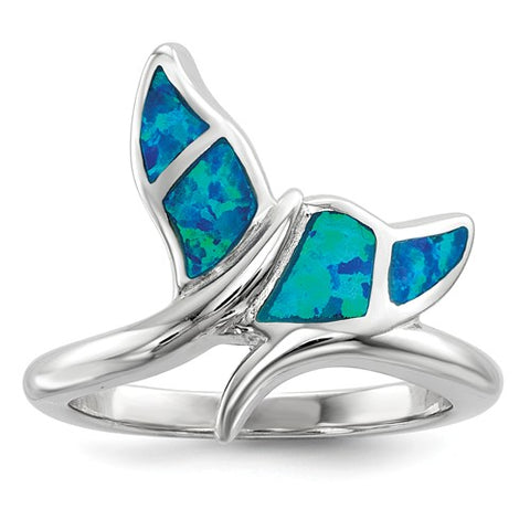 925 Sterling Silver Opal Whale Tail Ring - Cailin's