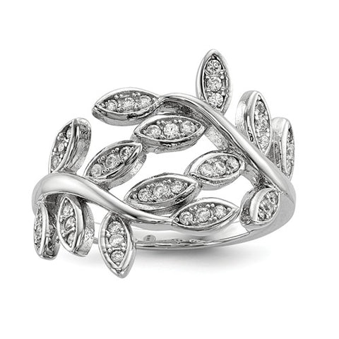925 Sterling Silver CZ  Leaves Ring - Cailin's