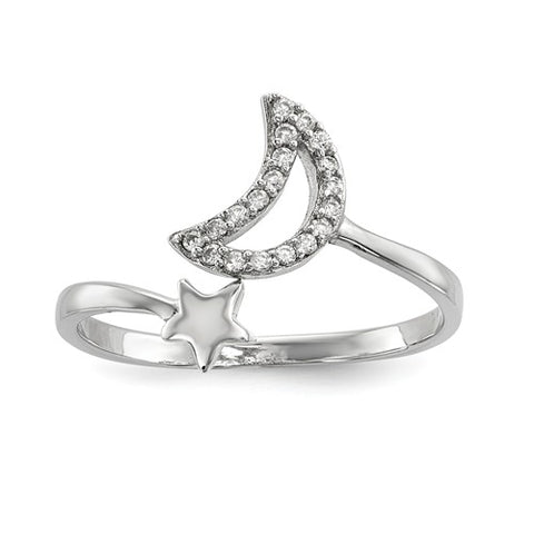 925 Sterling Silver CZ Moon With Star Ring - Cailin's