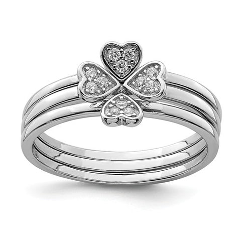 925 Sterling Silver 4 Leaf Clover CZ Rings - Cailin's