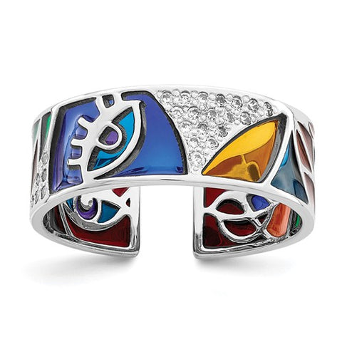 925 Sterling Silver Colourful Abstract CZ Ring - Cailin's