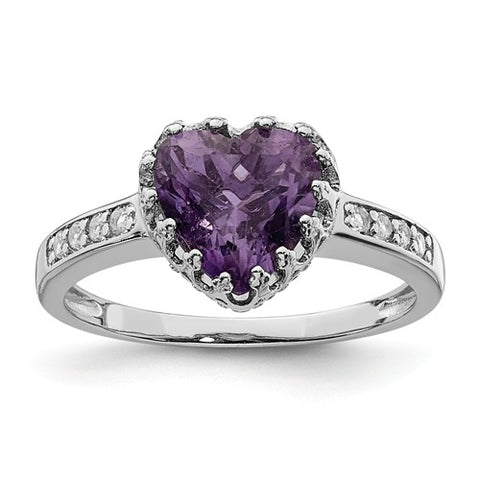 925 Sterling Silver Amethyst Heart CZ Ring - Cailin's