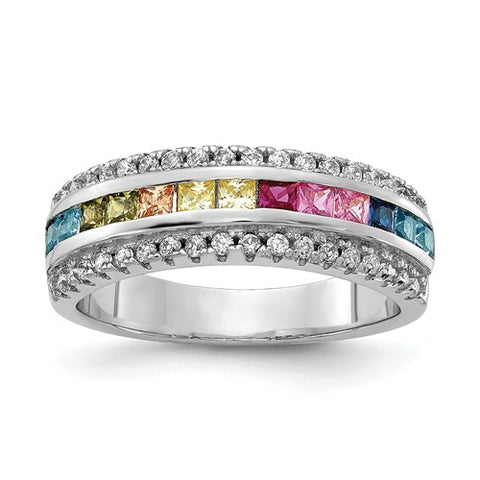 925 Sterling Silver Regal Rainbow CZ Ring - Cailin's