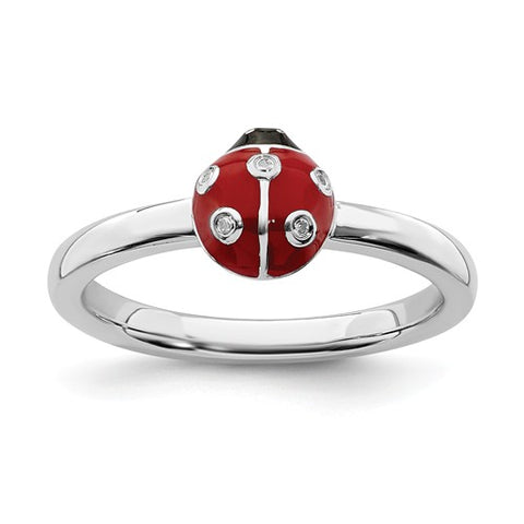 925 Sterling Silver diamond Lovely Ladybug Ring - Cailin's