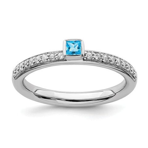 925 Sterling Silver Blue Topaz diamond Ring - Cailin's