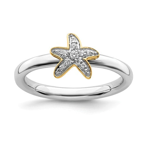 925 Sterling Silver Gold Starfish diamond Ring - Cailin's