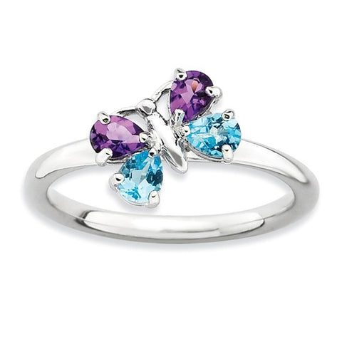 925 Sterling Silver Amethyst Blue Topaz Butterfly Ring - Cailin's