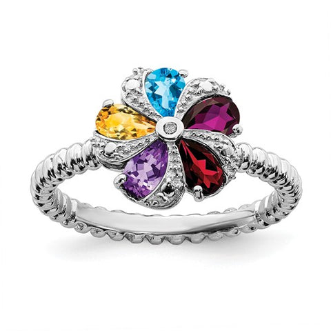 925 Sterling Silver Multi Gemstone diamond Ring - Cailin's