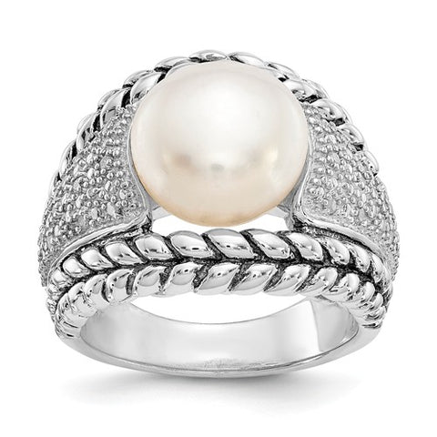 925 Sterling Silver Freshwater White Pearl Pavé diamond Ring - Cailin's