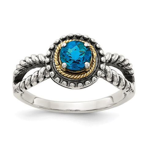 Sterling Silver 14K London Blue Topaz Royal Ring - Cailin's