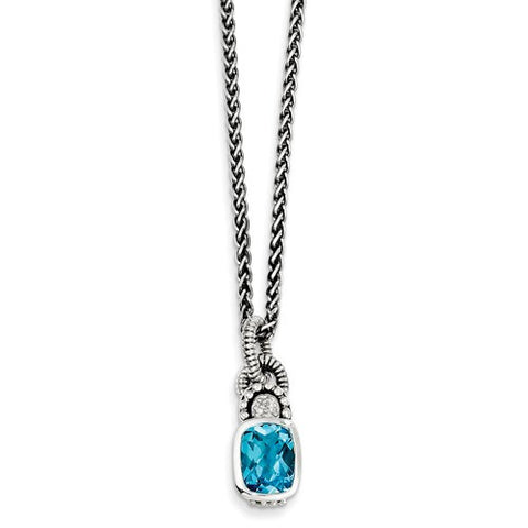 Sterling Silver Blue Topaz diamond 18in Necklace - Cailin's