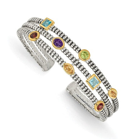 14K Two Tone Multi Gemstone 1 CT Bangle Bracelet - Cailin's