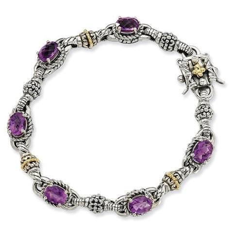 Two Tone Genuine Amethyst Bangle Bracelet