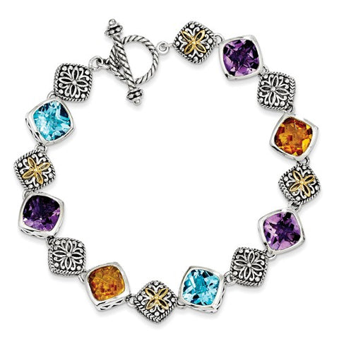 Genuine Multi Gem Two Tone Antique Toggle Bracelet