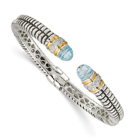 925 Sterling Silver Swiss Blue Topaz diamond Bracelet - Cailin's