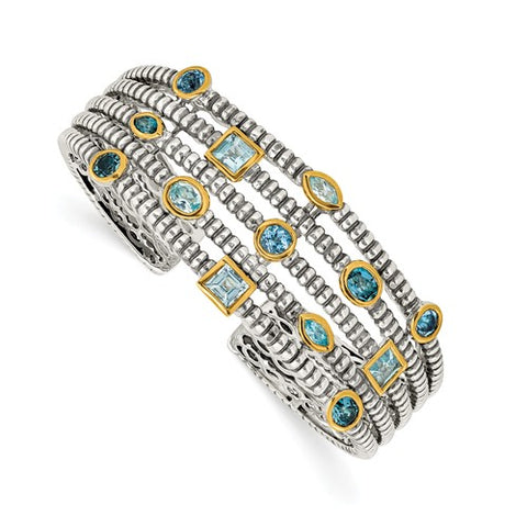 925 Sterling Silver 3CT Swiss Blue Topaz Antique Cuff Bracelet - Cailin's