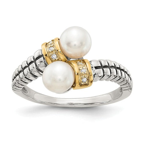 14KY Two Tone White diamond White Pearls Ring - Cailin's