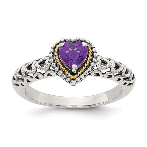 925 Sterling Silver with 14KY Accent Antique Amethyst Heart Ring - Cailin's