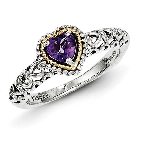 925 Sterling Silver 14KY Genuine Amethyst Heart Ring - Cailin's