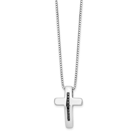 "925 Sterling Silver Black diamond Cross 18"" Necklace - Cailin's"