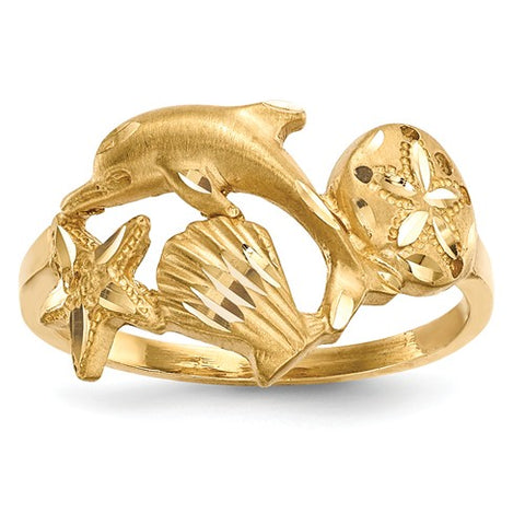 14K Yellow Gold Ocean Life Ring - Cailin's