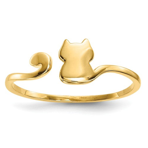 14K Yellow Gold Adjustable Wow Meow Kitty Cat Ring - Cailin's