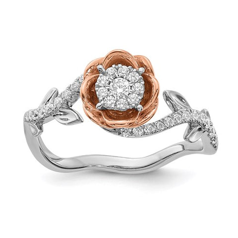 14K White Gold Rose Gold Rose diamond Ring - Cailin's