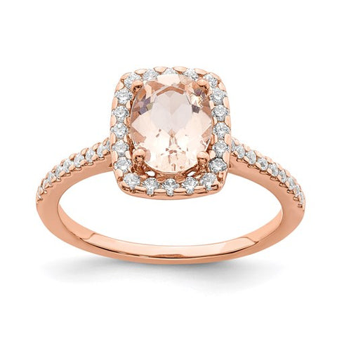 14K Rose Gold 1CT Morganite diamond Engagement Ring - Cailin's