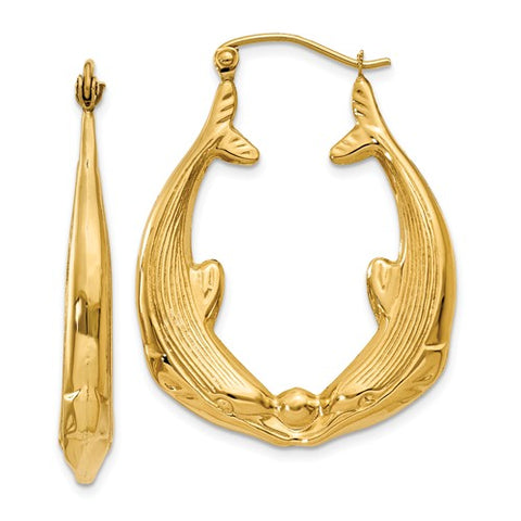 14K Yellow Gold Kissing dolphins Hoop Earrings - Cailin's