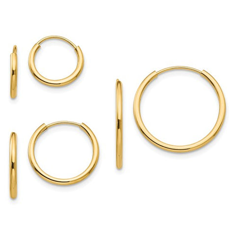 14K Gold Three Piece Hoop Earring Set - Cailin's