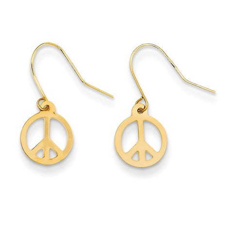 14K Yellow Gold Peace Sign Earrings - Cailin's