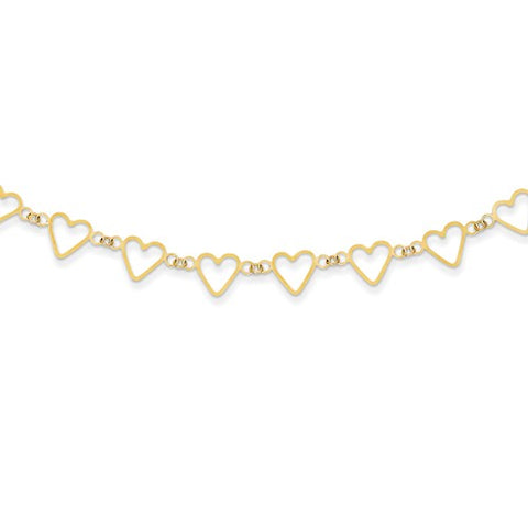 14K Yellow Gold Open Hearts Necklace - Cailin's