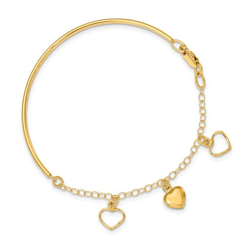 14K Yellow Gold True Hearts Chain Bangle Bracelet - Cailin's