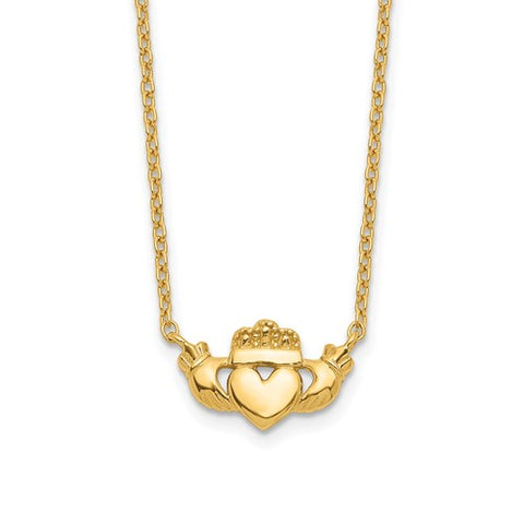 "14K Yellow Gold Celtic Claddagh 17"" Necklace - Cailin's"