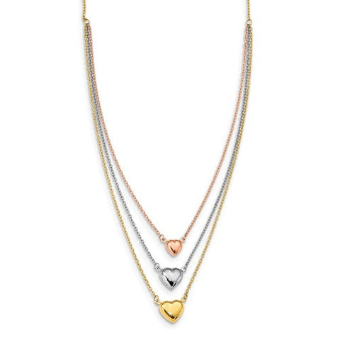 14K Gold Three Hearts of Love Layer Necklace - Cailin's